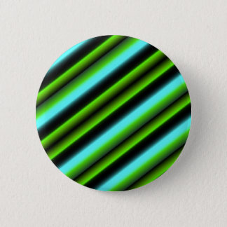 Art Deco Retro gestreift in grün blau schwarz Runder Button 5,1 Cm