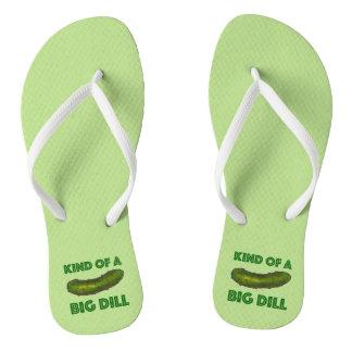 Art einer großen grünen Essiggurke des Flip Flops