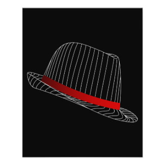 ART-HUT-MODE DES GANGSTER-hat-158569 SCHWARZ-WEISS Flyerbedruckung