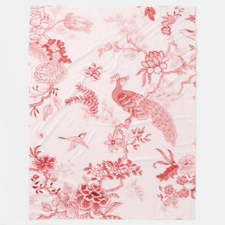 """Art-"" Pfau u. Floral_ ruhiges Rose_Large Fleecedecke"