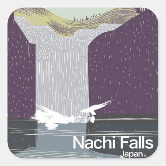 Art-Reiseplakat Nachi Fall-Japans Vintages Quadratischer Aufkleber