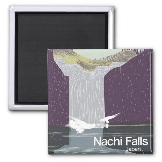 Art-Reiseplakat Nachi Fall-Japans Vintages Quadratischer Magnet