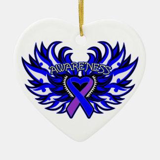 Arthritis-Bewusstseins-Herz-Flügel Keramik Herz-Ornament