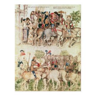 Arthur und seine Ritter, die auf darlegen Postkarte