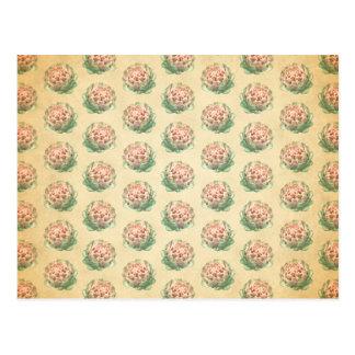 Artischocken-Muster mit einem Vintagen Art-Blick Postkarte