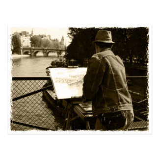 Artist at the Seine river in Paris, France Postkarte