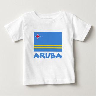 Aruba-Flaggen-kundengerechter blauer Text Baby T-shirt