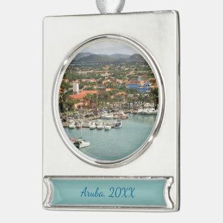 Aruba-Jachthafen datiert Banner-Ornament Silber