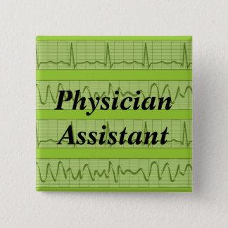 Arzt-Assistent knöpft Herzrhythmus-Grün Quadratischer Button 5,1 Cm