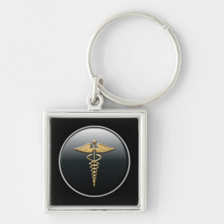 Arzt-Symbol Silberfarbener Quadratischer Schlüsselanhänger