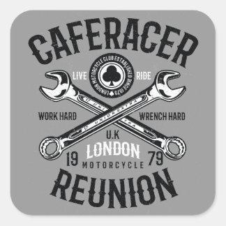 As-Caféracer-Wiedersehen-Arbeits-harter Quadratischer Aufkleber