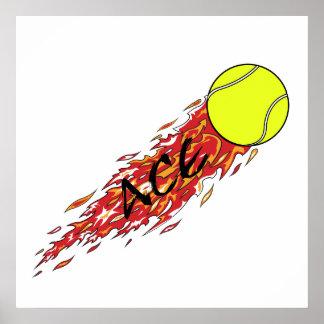 As-Tennisball auf Feuerflammen Poster