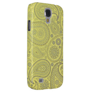 Asche weißes Paisley auf gelbem Hintergrund Galaxy S4 Hülle