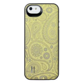 Asche weißes Paisley auf gelbem Hintergrund iPhone SE/5/5s Batterie Hülle