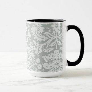 Aschen-Grau; Graues Damast-Muster; Tafelblick Tasse