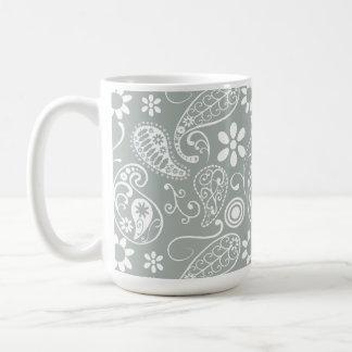 Aschen-Grau; Graues Paisley Kaffeetasse