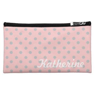 Aschen-Grau-Tupfen auf Baby-Rosa Cosmetic Bag