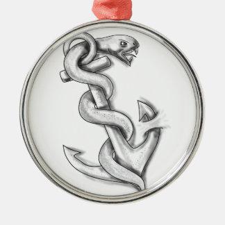 Asclepius Schlange, die oben auf Anker-Tätowierung Rundes Silberfarbenes Ornament