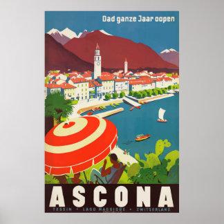 Ascona die Schweiz Vintages Reise-Plakat Poster