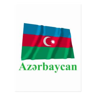 Aserbaidschan, das Flagge mit Namen auf Postkarte