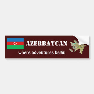Aserbaidschan-Flagge + Karten-Autoaufkleber Autoaufkleber