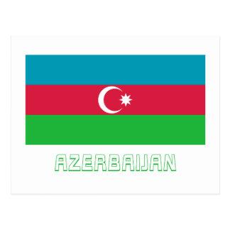 Aserbaidschan-Flagge mit Namen Postkarte