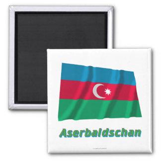 Aserbaidschan Fliegende Flagge MIT deutschem Namen Quadratischer Magnet