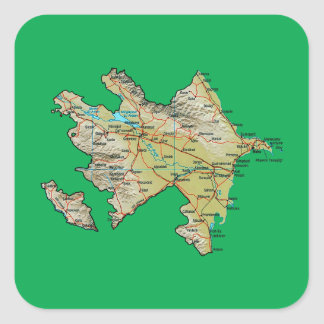 Aserbaidschan-Karten-Aufkleber Quadratischer Aufkleber