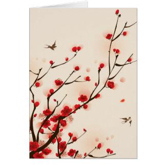 Asiatische Art-Malerei-Pflaumen-Blüte im Frühjahr Karte