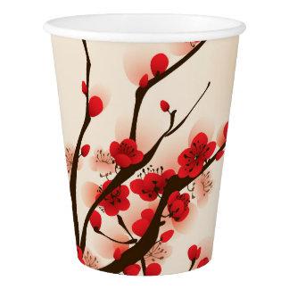 Asiatische Art-Malerei-Pflaumen-Blüte im Frühjahr Pappbecher