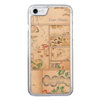 Asiatische Kunst-Collage und Blumen Vintages Brown Carved iPhone 8/7 Hülle