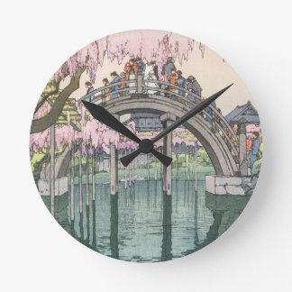 Asiatische Kunst-Vintages orientalisches Runde Wanduhr