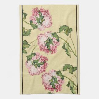 Asiatische Pfingstrosen-Blumen-Blumenküchen-Tuch Handtuch