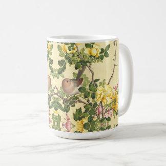 Asiatische Vogel-Rosen-Herz-Blumen-Tier-Tasse Kaffeetasse