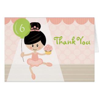 Asiatischer Ballerina-Geburtstag danken Ihnen Karte