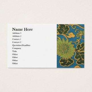 Asiatischer blauer mit Blumenstoff Visitenkarte