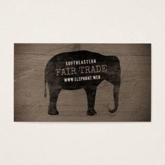 Asiatischer Elefant-Silhouette-rustikale Art Visitenkarte