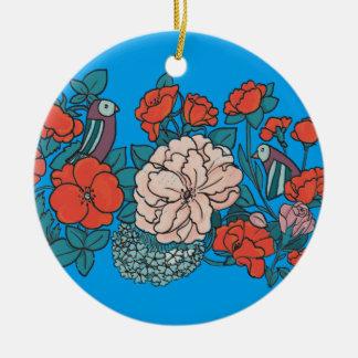 Asiatisches Blumenmeer Keramik Ornament