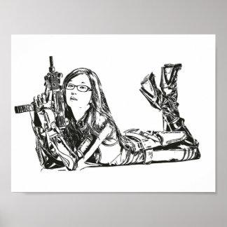 Asiatisches Mädchen mit der Waffen-Gewehr-Malerei, Poster