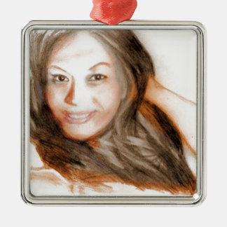 Asiatisches Schönheitsdamen-Frauenmädchen Quadratisches Silberfarbenes Ornament