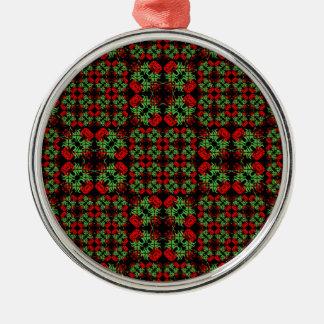 Asiatisches verziertes Patchwork-Muster Rundes Silberfarbenes Ornament