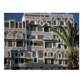Asien, der Jemen, Sana'a. Jemenitisches Haus Postkarte