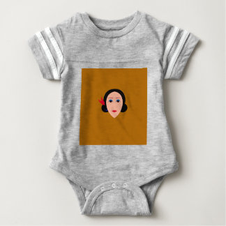 Asien-Frau auf Gold Baby Strampler