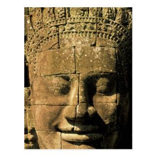 Asien, Kambodscha, Siem Reap. Angkor Thom, Köpfe Postkarte