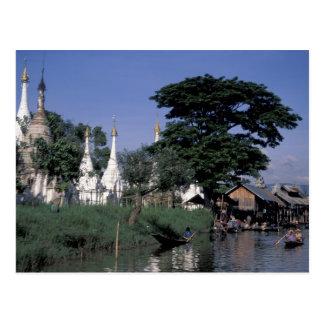 Asien, Myanmar, Inle See. Ein sich hin- und Postkarte