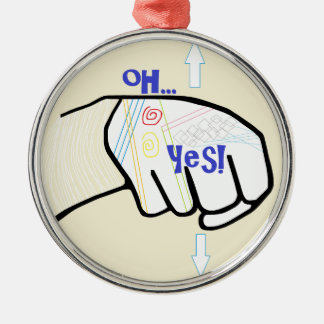 ASL oh JA Silbernes Ornament