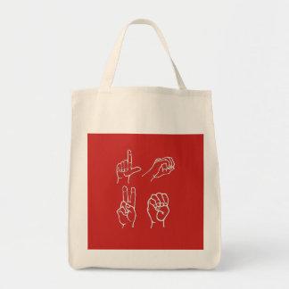 Asl-Zeichen-Sprachlebensmittelgeschäft-Tasche Tragetasche