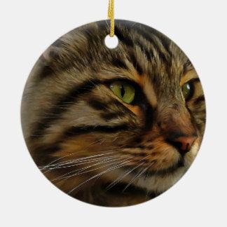Aslan die langhaarige Tabby-Katze Keramik Ornament