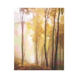 Aspen-Baum-morgens Nebel Leinwanddruck