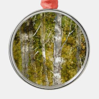 Aspen-Bäume im Fall Silbernes Ornament